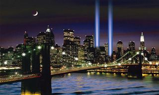 New York Twin Tower In Memory Lighted Moving Picture